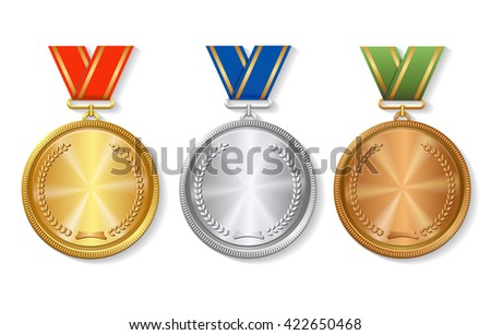 Set of gold, silver and bronze Award medals  - stock photo