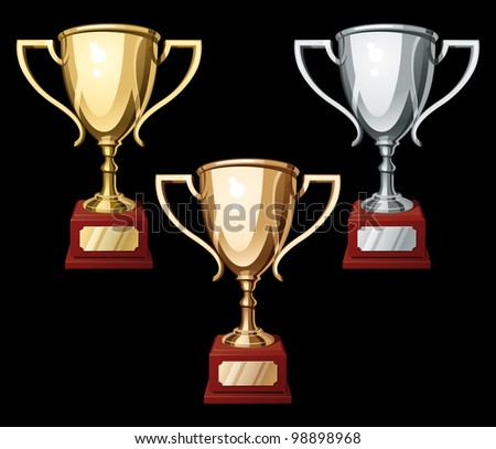 Set of Gold, Silver and Bronze Sport Cups on Black Background. Rasterized Version - stock photo