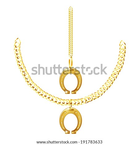 set of golden chain and horseshoe isolated on white background raster
