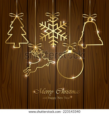 Set of golden Christmas elements on wooden background, illustration. - stock photo