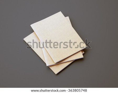Set of golden color notebooks on the gray background. 3d render - stock photo