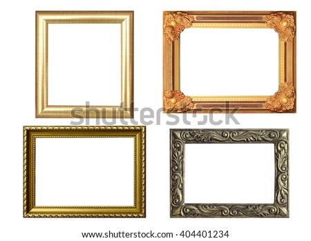 Set of golden frame and wood vintage isolated on white background.