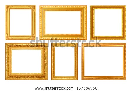 Set of golden frame isolated on white background - stock photo