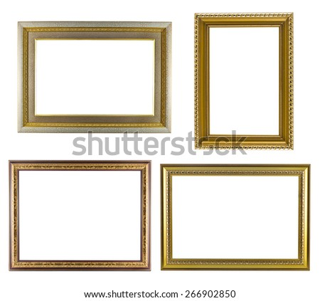 Set of golden frame vintage isolated on white background. - stock photo