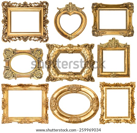 Set of golden frames without shadows isolated on white background. Baroque style antique objects. Vintage background - stock photo