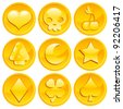 Set of Golden Game Coins - stock photo