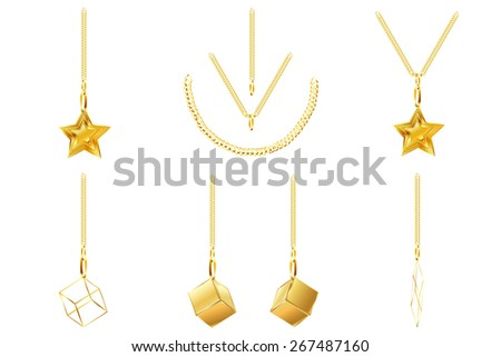 set of golden icons golden chain golden star golden cube abstract golden line isolated on white background raster - stock photo