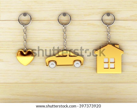 Set of golden keychains in the form of the house, car and heart is hanging on the wooden wall. 3d illustration. - stock photo