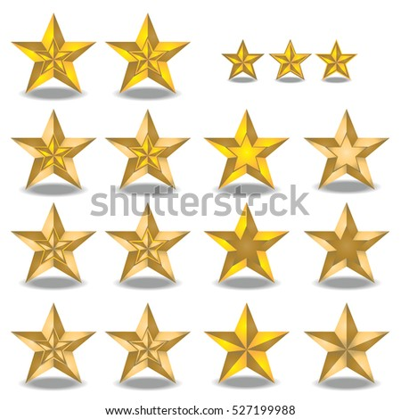 Set of golden star (star in star) isolated with shadow on white background