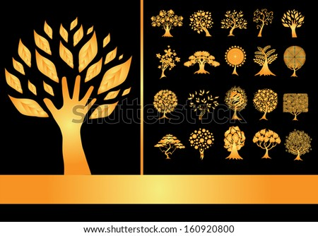 set of 20 golden tree silhouettes for your design