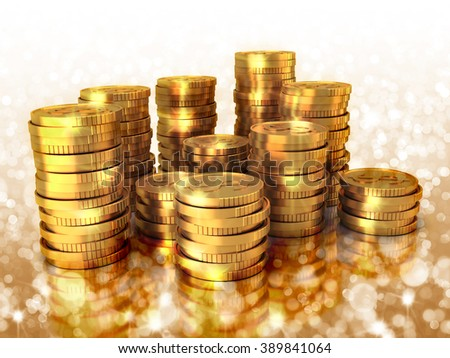 Set of golden US dollar coins with light bokeh and reflection. - stock photo