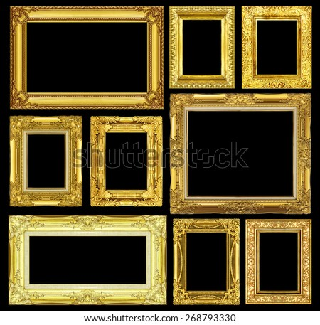 Set of golden vintage frame isolated on black background. - stock photo