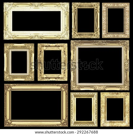 Set of golden vintage frame isolated on black background - stock photo