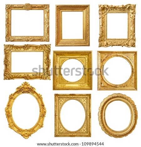 Set of golden vintage frame isolated on white background - stock photo