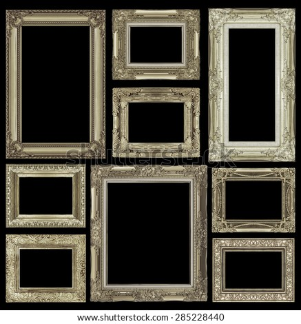 Set of golden vintage frame isolated on white background - stock photo