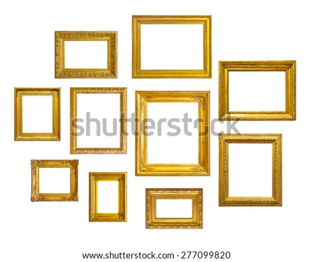 Set of golden vintage frame on white background - stock photo