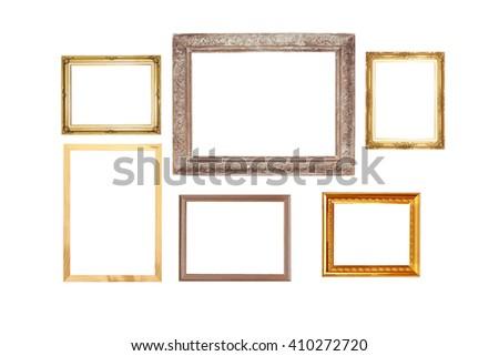 Set of golden vintage wood frame, isolated on white background. - stock photo