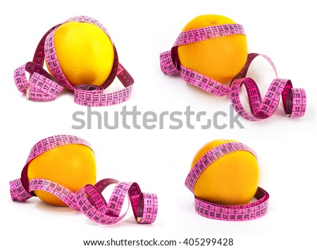 set of grapefruit and measuring tape dieting concept isolated on white background - stock photo