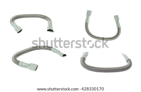 Set of Gray Hand held small vacuum hose cleaner isolated over the white background - stock photo