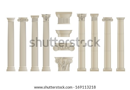 set of greece column with separate capitels  - stock photo