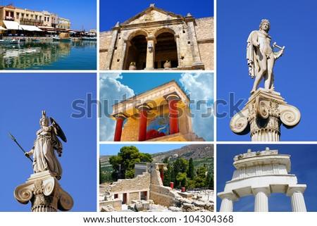 Set of greek historical citys (Athens and Crete island) - stock photo