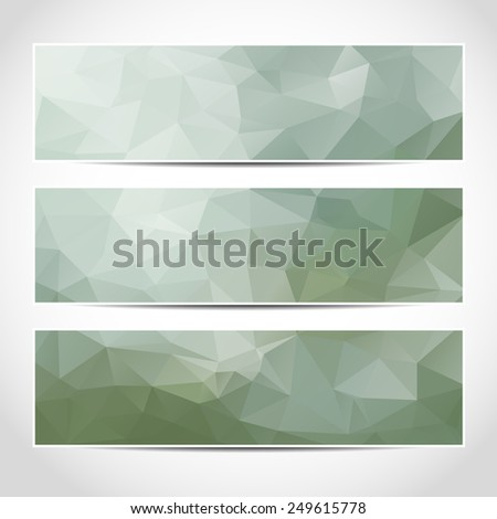 Set of green blue banners template or website headers with abstract geometric background. Design illustration - stock photo
