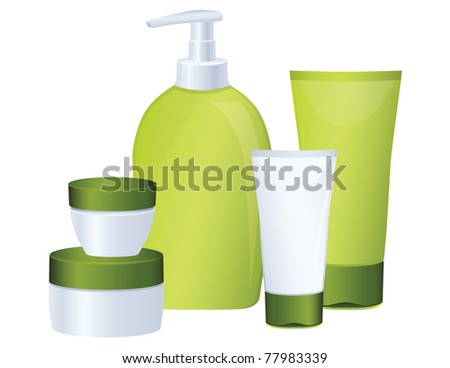 Set of green cosmetic bottles - stock photo