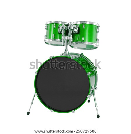 Set of Green drums isolated - stock photo