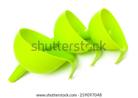 set of green funnels on a white background - stock photo