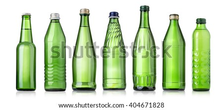 set of green Glass bottles of soda water. Isolated on white background - stock photo