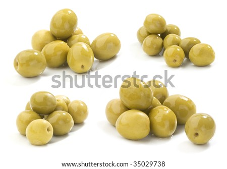 set of green olives images - stock photo