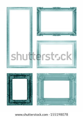 Set of green picture frame isolated on white background - stock photo