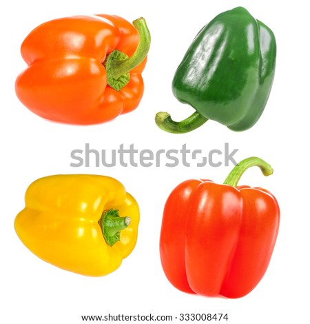 set of green, red, orange,yellow sweet pepper isolated on white background - stock photo