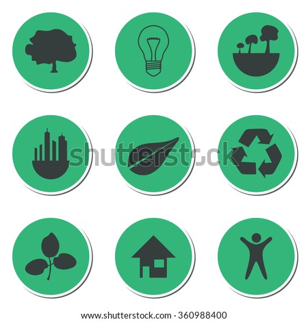 Set of green technology icons