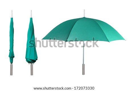 Set of green umbrellas isolated on white background - stock photo