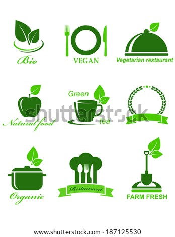 set of green vegetarian food icons on white background - stock photo