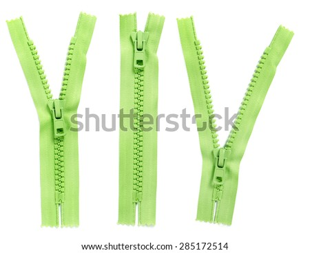 Set of green zipper isolated on white background - stock photo