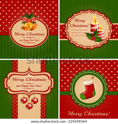 Set of greeting cards with traditional symbols of Christmas and New Year. Raster illustration. - stock photo