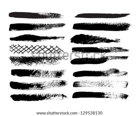 Set of grunge brush isolated on white background - stock photo