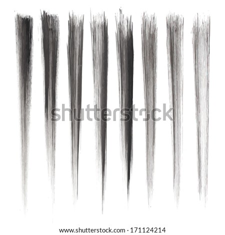 Set of grunge brush strokes. Black brush strokes collection. Black paint spots set