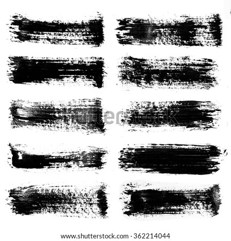 Set of Grunge brush strokes / Set of paint blobs. Isolated on white background. Black