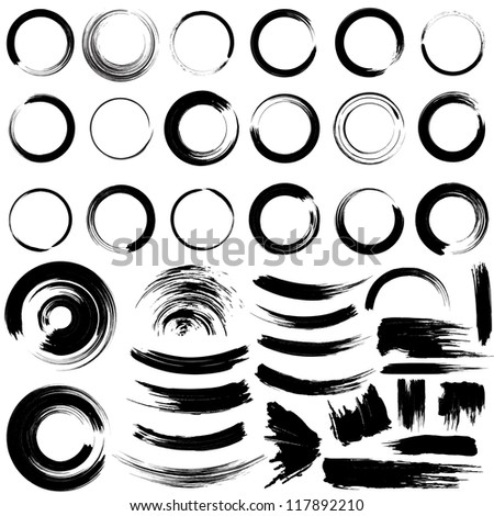 Set of grunge circle brush strokes. For vector version, see my portfolio. - stock photo