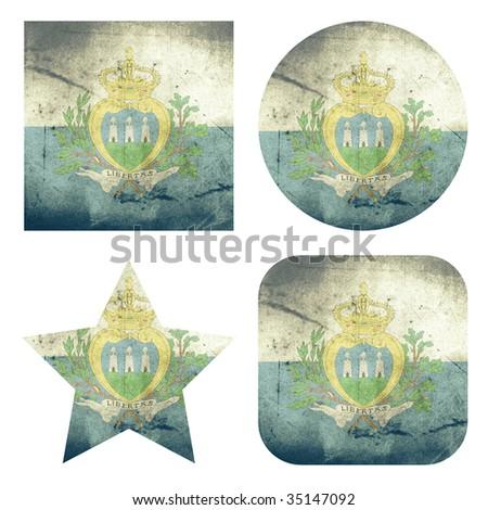 set of 4 grunge flag buttons of san marino - stock photo