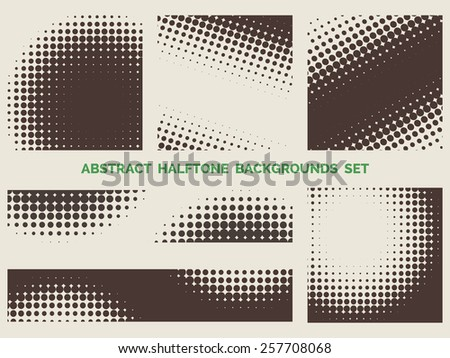 Set of grunge halftone patterns. Blot and spotted background - stock photo