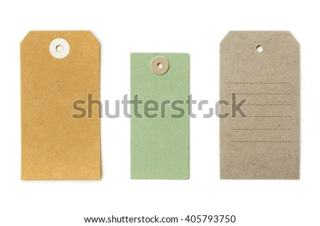 Set of grungy recycled paper tags of various shapes, isolated on white background, highly detailed - stock photo