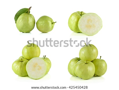 Set of guava fruit isolated on the white background.