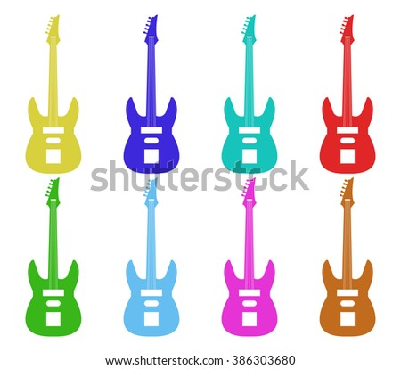 set of guitars