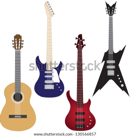 Set of guitars isolated on white. Raster version.