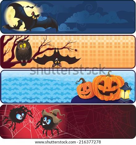 Set of Halloween banners  - stock photo