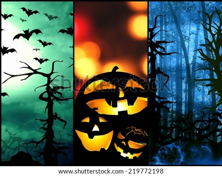 set of halloween symbols pumpkin bats forest background - stock photo